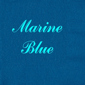 Personalized Marine Blue Napkins - Beverage, Cocktail, Dinner & Guest Towels