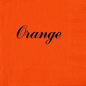 Personalized Orange Napkins - Beverage, Cocktail, Dinner & Guest Towels