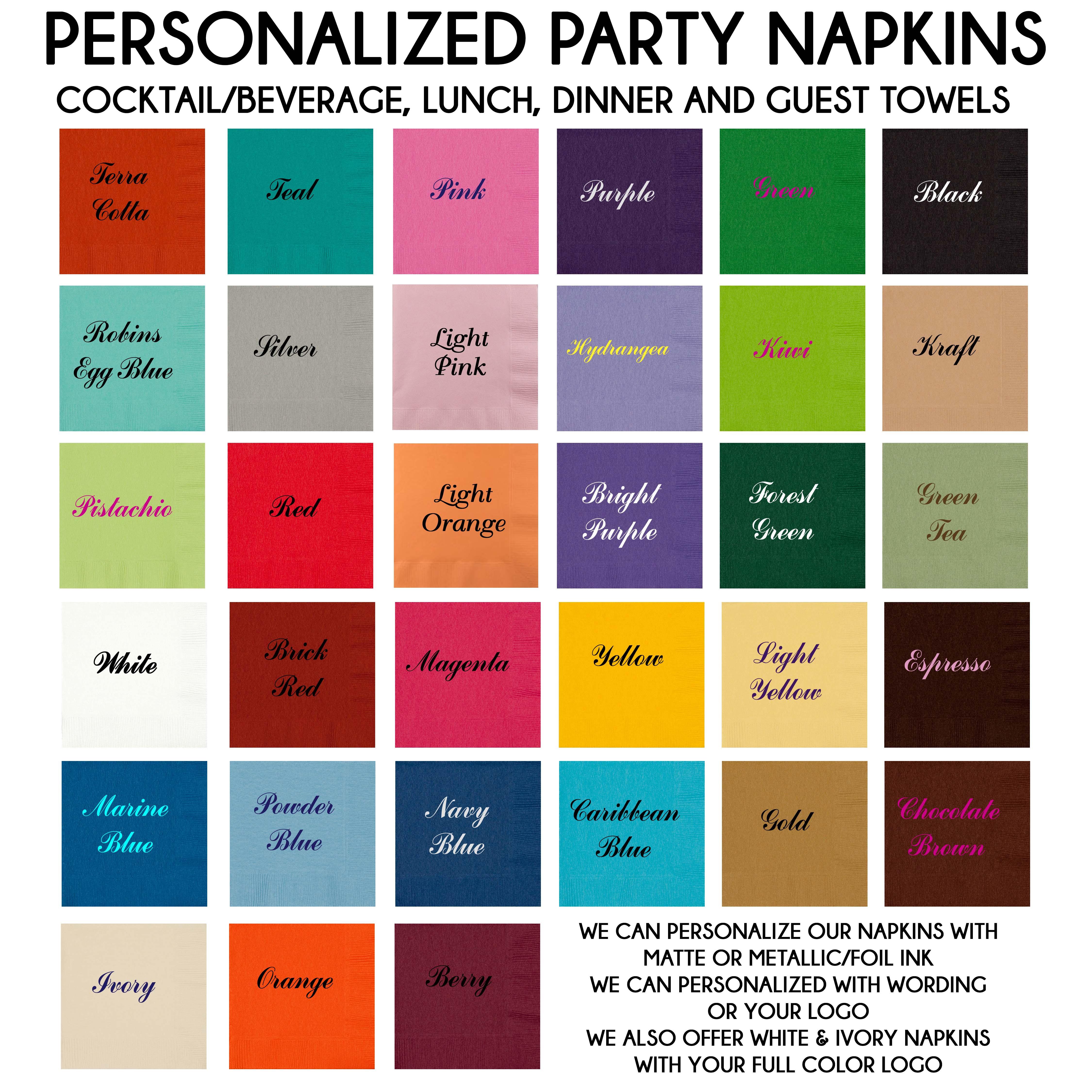 Custom Printed Napkins For Weddings Bar Mitzvah Bat Mitzvah Cutie Patootie Creations