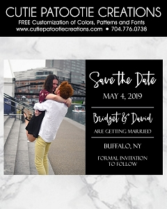 Black and White Wedding Save the Date Cards with Photo - Custom Colors Available
