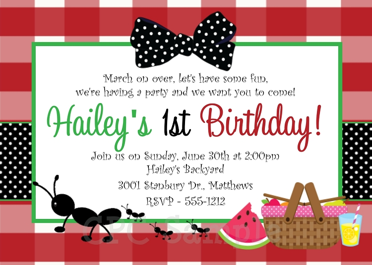 ants on a picnic birthday party invitation