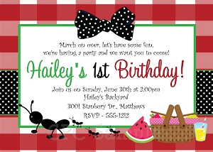 Ants on a Picnic Birthday Party Invitation - Red Black and Green