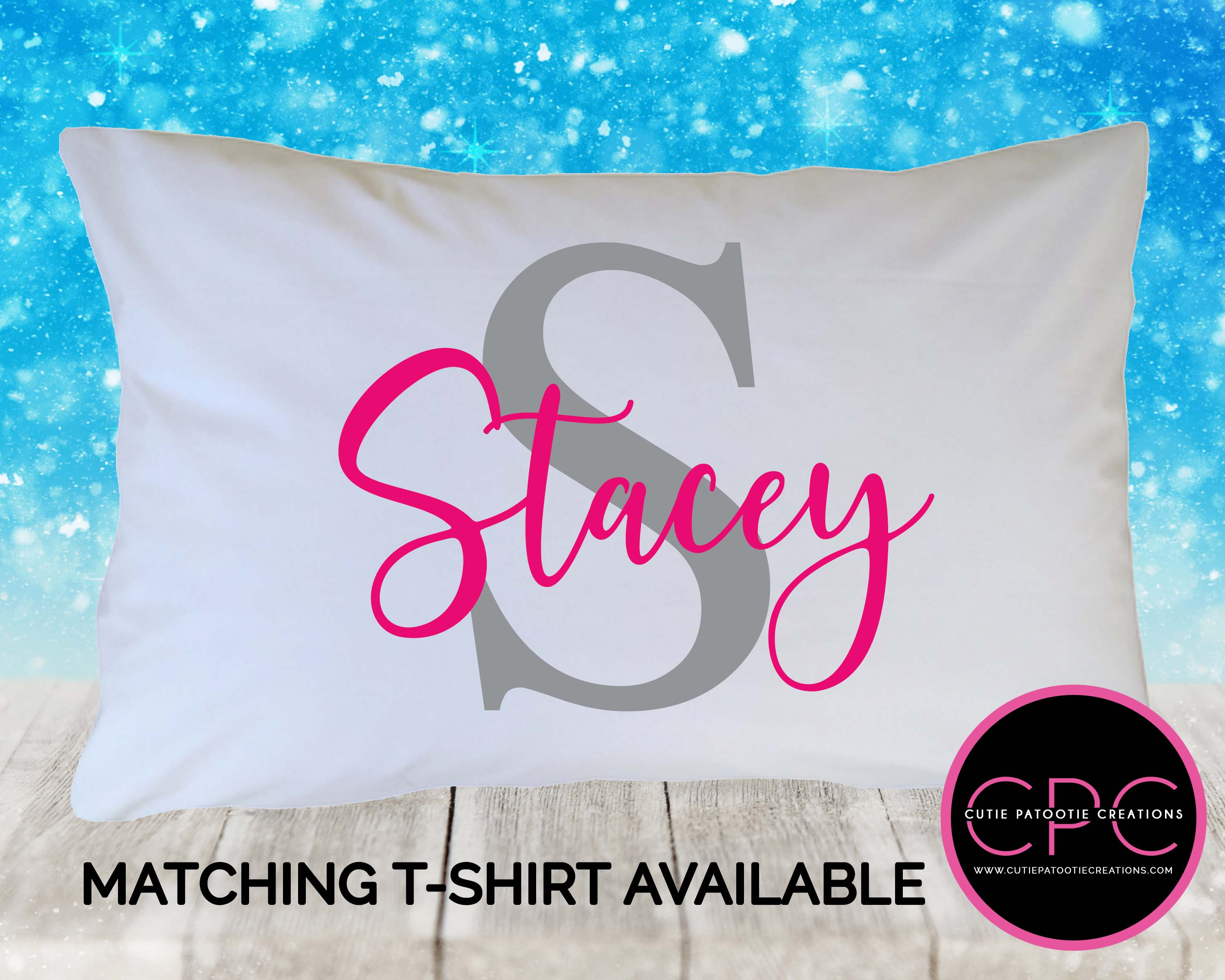 Pink And Grey Name Initial Personalized Pillowcase