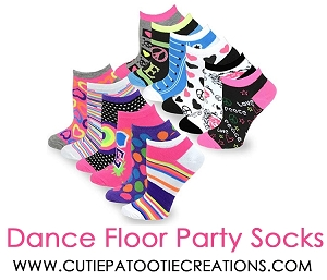 Dance Floor Party Socks for Mitzvahs -  Pink and Black Mixed