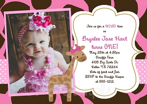 Giraffe Birthday Party Invitations, Pink and Brown