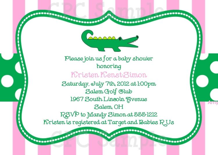 Preppy Pink And Green Alligator Birthday Invitations