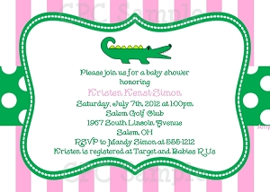 Preppy Pink and Green Alligator Birthday Invitations