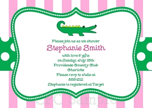 Pink Alligator Baby Shower Invitations