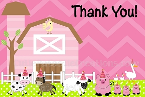 Pink Farm Thank You Cards