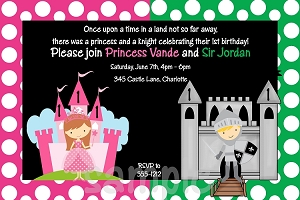 Princess Knight Invitations - Pink and Green