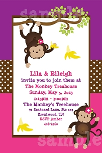 Pink and Purple Monkey Birthday Party Invitations | Animal Invitations - Printable or Printed