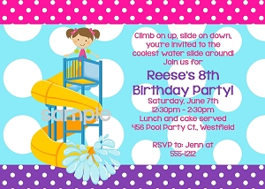 Pink, Turquoise, Purple Pool Party Invitations - Water Slide Birthday Invitation