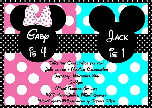 Pink And Blue Mouse Ears Birthday Party Invitations