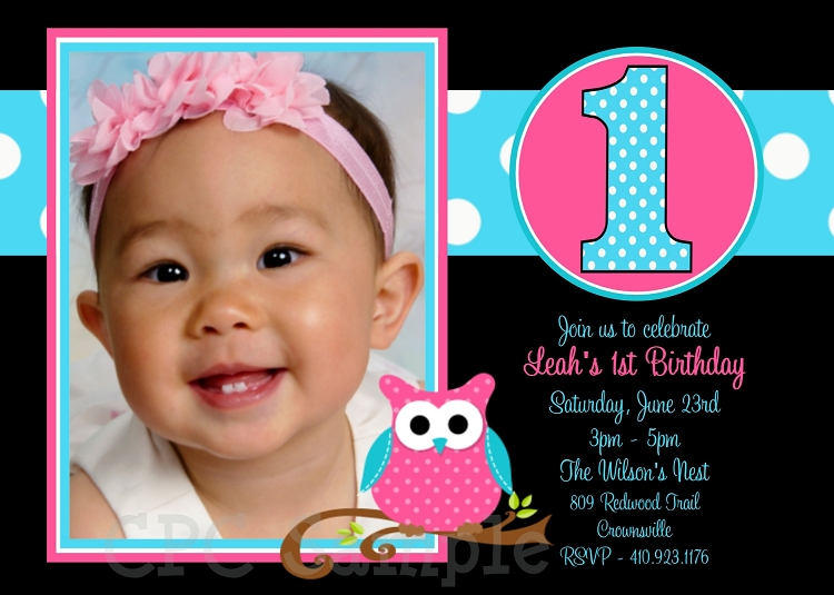 Owl 1st Birthday Invitation With Photo Printable Or Printed