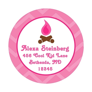 Personalized Camp Label and Stickers - Pink Camping Theme