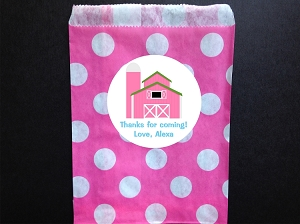 Pink Farm Party Favor Bags and Personalized Stickers