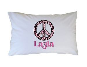 Personalized Pink Leopard Print Peace Sign Pillow Case for Kids, Adults and Toddler