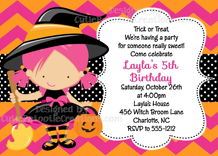 Witch Costume Birthday Invitations