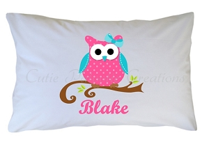 Personalized Owl Pillow Case for Kids, Adults and Toddler