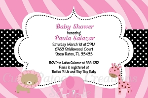 Girl Safari Baby Shower Invitations
