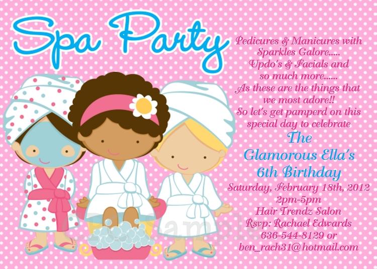 Spa Party Birthday Invitations Sleepover Invitations Printable