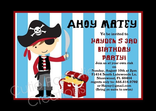 Pirate Birthday Invitation, Printable or Printed Party Invite