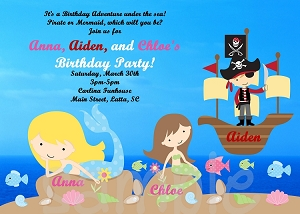 Pirate Mermaid Birthday Invitation, Printable or Printed Party Invite