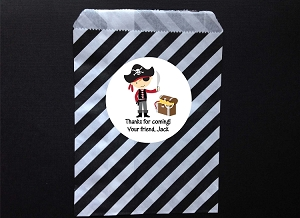 Pirate Party Favor Bags and Personalized Stickers