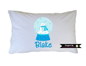 Personalized Polar Bear Snowglobe Pillow Case for Kids, Adults and Toddler