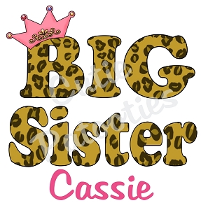 Personalized Leopard Print Big Little Middle Sister TShirt or Bodysuit