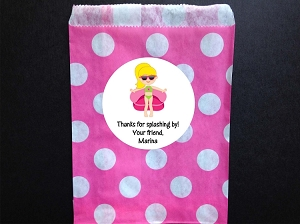Pool Party Polka Dot Favor Bags and Personalized Stickers