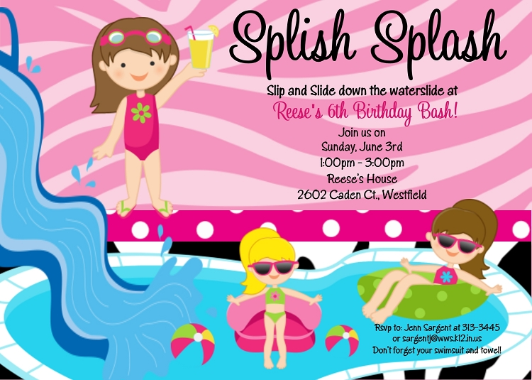 Girls Splish Splash Pool Party Invitations