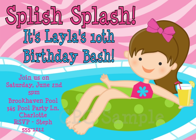 Splish Splash Pool Party Invitations
