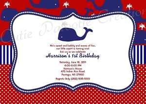 Preppy Whale Birthday Party Invitations