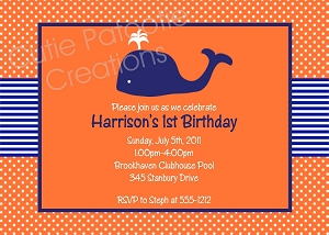 Preppy Whale Birthday Invitations, Orange and Navy Blue