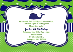 Preppy Whale 1st Birthday Party Invitations