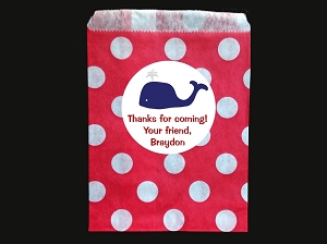 Preppy Whale Party Favor Bags and Stickers