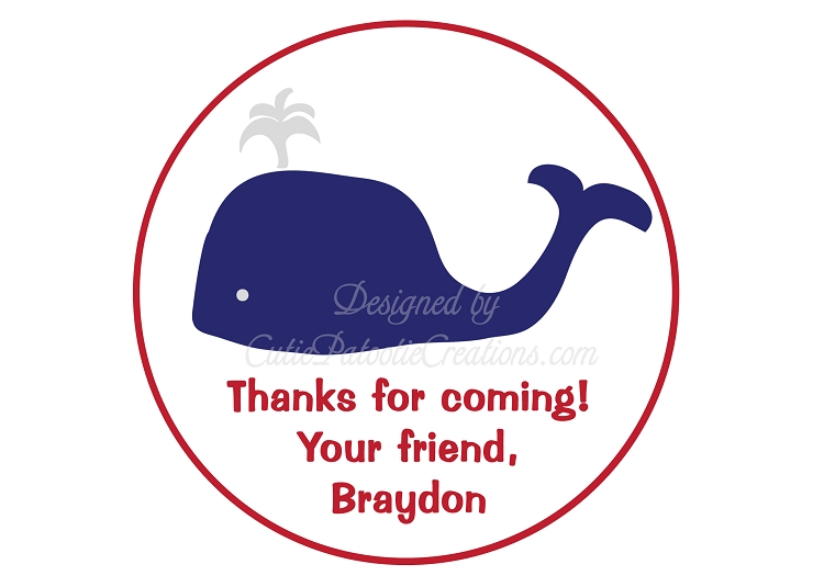 Personalized Preppy Whale Stickers