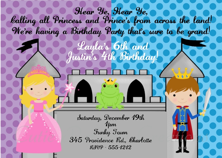 prince and princess birthday party invitations