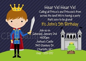 Prince Birthday Party Invitations - Printable or Printed