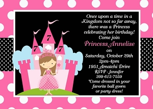 Princess Castle Birthday Party Invitations - Printable or Printed