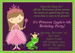 Princess and Frog Birthday Party Invitations - Printable or Printed