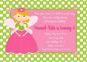 Princess Birthday Party Invitations - Printable or Printed
