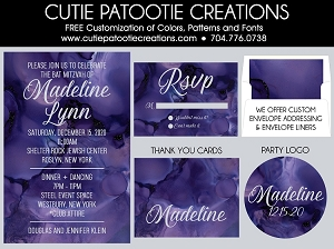 Purple Watercolor Bat Mitzvah Invitations | Cutie Patootie Creations