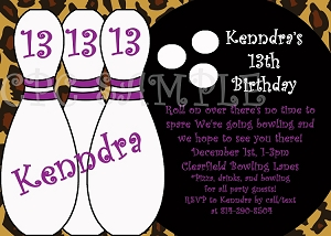 Leopard Print Bowling Birthday Party Invitations