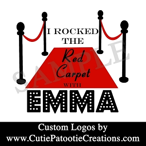 Red Carpet Hollywood Bat Mitzvah Logo - Black, Red and White