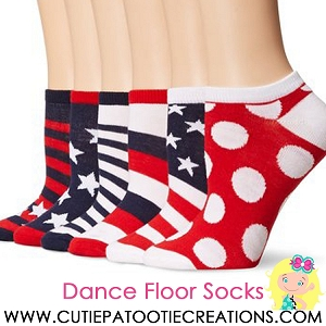 Dance Floor Party Socks for Bar and Bat Mitzvahs - Red, White and Blue