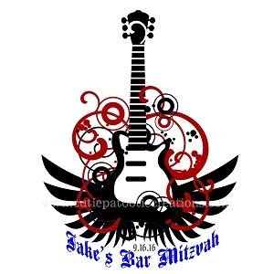 Rock Star Rock and Roll Guitar Theme Bar Mitzvah Logo