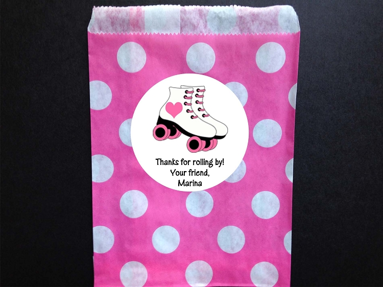 Roller Skating Party Favor Bags And Personalized Stickers