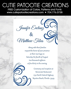 Royal Blue and White Damask Wedding Invitations - Custom Colors Available